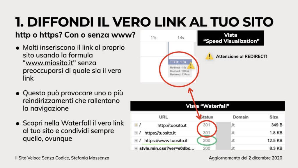 la condivisione del link effettivo evita i reindirizzamenti
