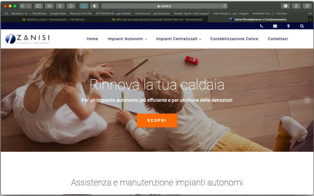 home page desktop del nuovo sito creato per un'azienda idraulica - NUwebstudio
