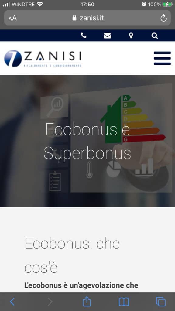vista mobile di una pagina del nuovo sito creato per azienda idraulica - NUwebstudio